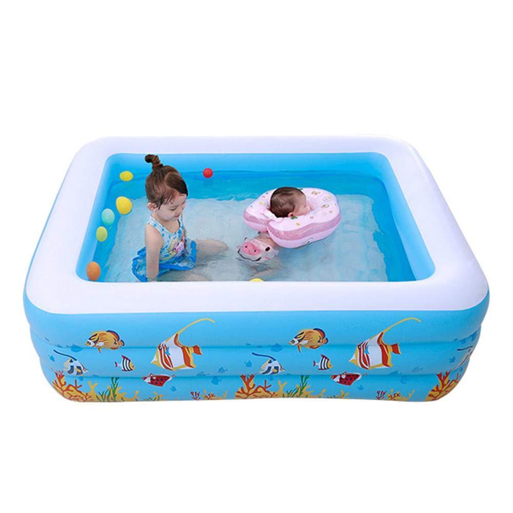 Meetforyou Großer aufblasbarer Pool, Erwachsener aufblasbarer Pool für Sommerfest, Rechteckiger Familienpool für Kinder, 180 140 60cm, ab 3 Jahren