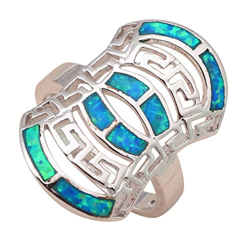 BMALL Special Designer New Arrival Products Fashion Jewelry Blue Fire Opal 925 Silver Rings Or493A