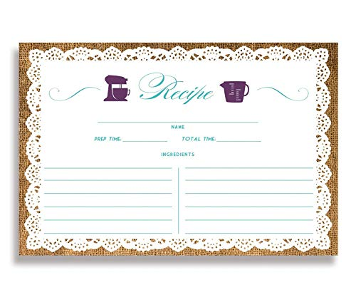 Lace Teaspoon - Lace Recipe Cards (Set of 25) 4x6 inches. Double Sided Card Stock Recipe Card Set | Jackie Purple Turquoise