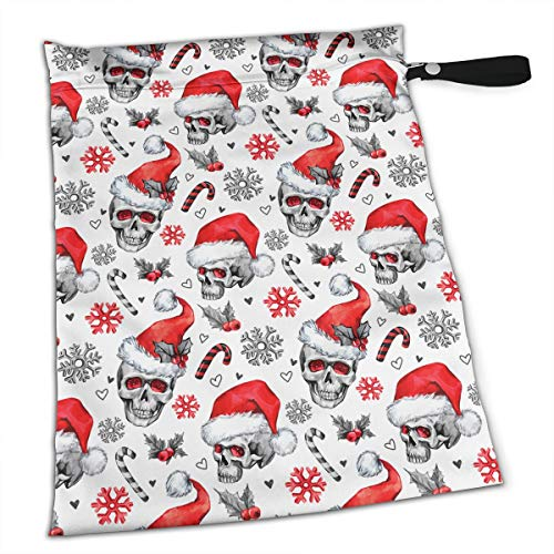 YyTiin Reusable Snack and Everything Bags - Skulls in Santa Hat,Large -