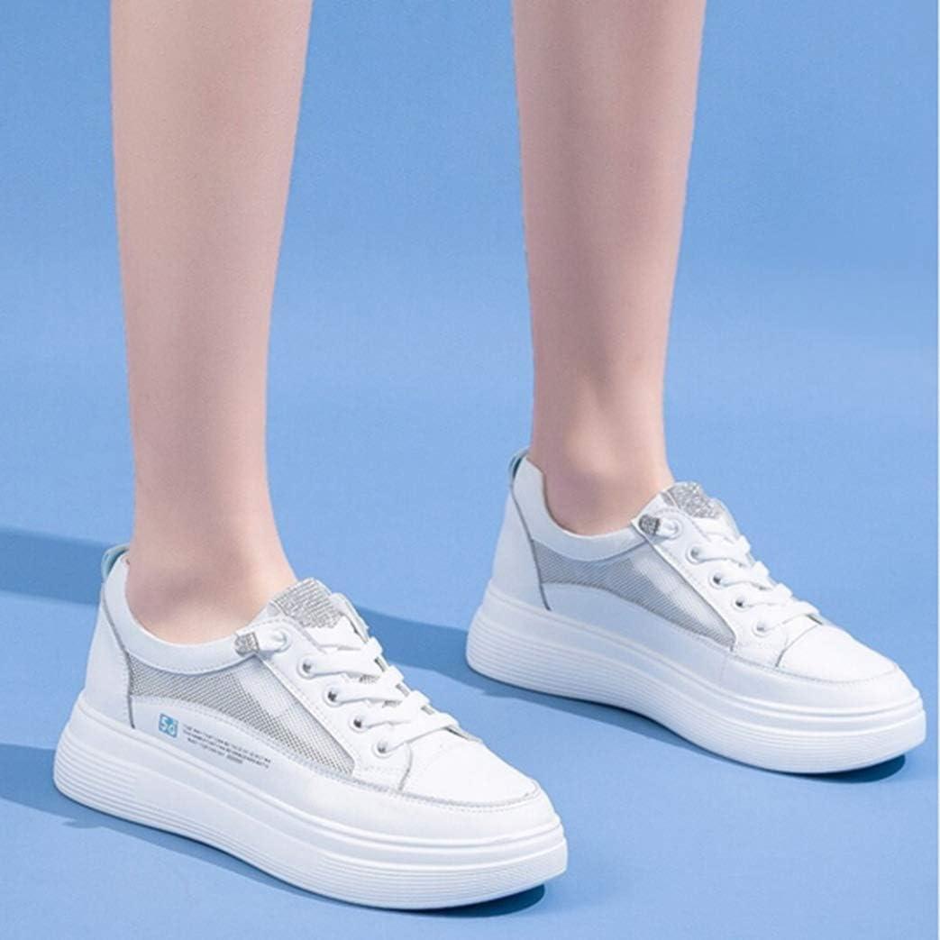 Femmes Casual Blanc Chaussures Mode Strass Décoration Respirant Maille en Cuir Imperméable À Lacets Bas Haut D'été Femelle Plate-Forme Sneakers Blanc Bleu