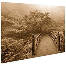 Ashley Giclee Moon Bridge In Foggy Fall Morning, Wall Art Photo Print On Metal Panel, Sepia, 24x30, Floating Frame, AG6103495