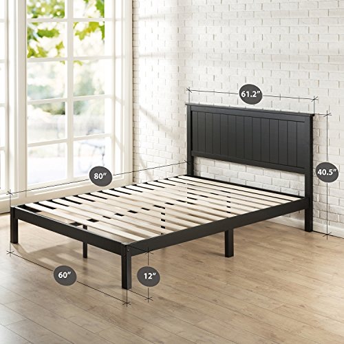 Zinus Wood Cottage Style Platform Bed with Headboard / No Box Spring Needed / Wood Slat Support, Queen