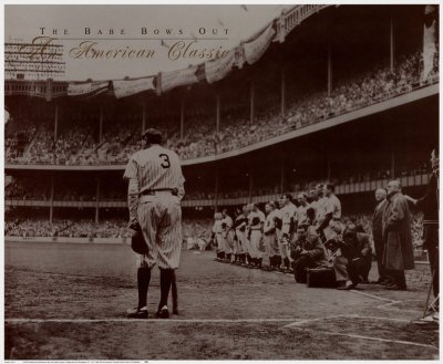 The Babe Bows Out, 1948 Art Poster Print by Nat Fein, 25x21 Baseball Great Vintage Image Hall of - Bows Out Poster