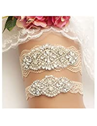 Yanstar Wedding Bridal Garter Champange Stretch Lace Bridal Garter Sets With Silver Rhinestones For Wedding