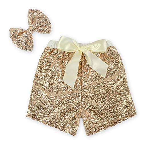 Anbaby Baby Girls Toddler Shorts Sequin Pants with Sequin Bow Hairpin M(1-2T) Gold]()