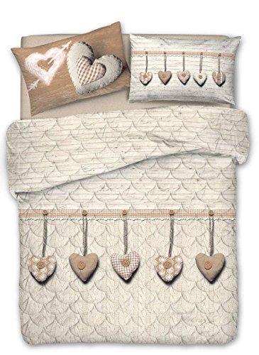 SUPER OFFERTA: TRAPUNTINO PRIMAVERILE AUTUNNALE (Matrimoniale 260x280) +  COMPLETO LENZUOLA Matrimoniale - Cupido BEIGE Cuore Cuori Appesi