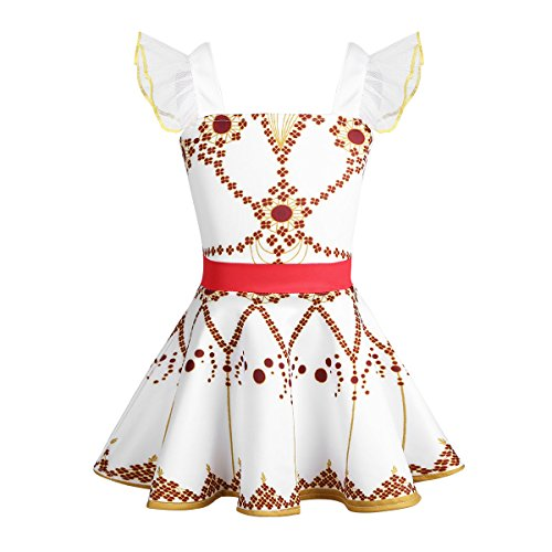 Agoky Kids Baby Girls Halloween Cosplay Princess Felicie Leap Costume Squared Ballet Leotard White -