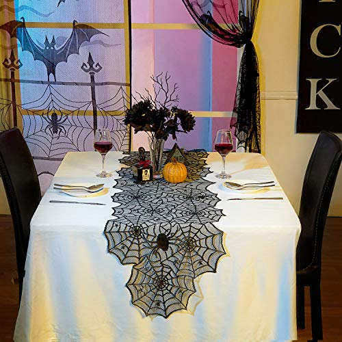 MACTING 20 x 80 inch Halloween Black Lace Spider Web Table Runner, Black Lace Cobweb Tablecloth Topper for Halloween Party Decorations Table Decor