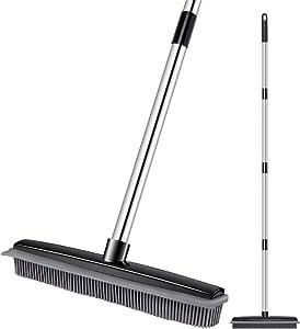 JUOIFIP Rubber Broom Pet Hair Carpet Broom Multi-Surface Rubber Bristle Sweeper with Squeegee Edge Adjustable Steel Handle Indoor Push Broom for Garbage Dust Pet Human Hair(Black)