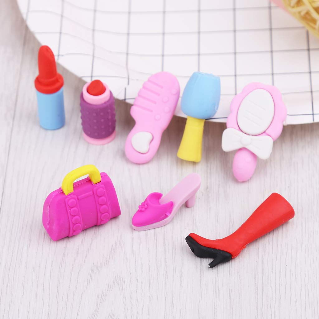 Tandou 8-teiliges Set M/ädchen Kosmetik Bleistift Radiergummi Herz Geschenkbox Schreibwaren Schulartikel