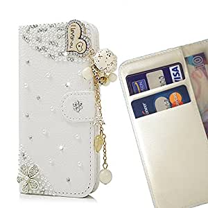 FOR HUAWEI P8 Lite Heart Love Romantic Bling Bling PU Leather Waller Holder Rhinestone - - OBBA