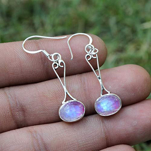 - Pink Rainbow Moonstone Earrings.925 Sterling Silver.Faceted Stone Earrings.Marquise Shape Earrings.Filigree & Victorian Jewellery.Fabulous Collection.Unique Pattern.Wedding & Engagement Earring