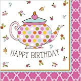 Tea Time Luncheon Napkin Happy Birthday Party Supplies (32-Pack)