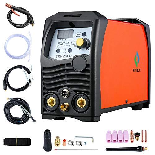 HITBOX TIG Welder Pulse 180A 110/220V Dual Volt Inverter IGBT Stick TIG Digital TIG200P Welder Welding Machine (Best 110v Tig Welder)