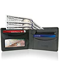 Mens Multi Card ID Bifold Wallet, Thin, Slim, RFID Protection Leather Card Holder