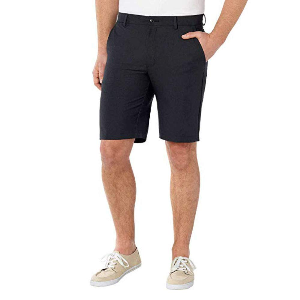 Greg Norman ML75 Luxury Microfiber Ultimate Travel Golf Shorts (Black Grey Heathered, 30)