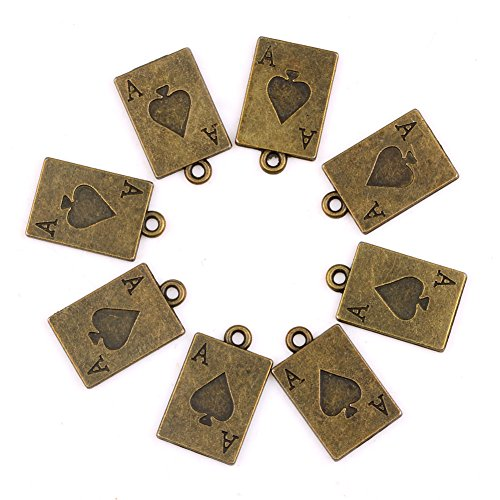 20 Pieces Magic Ace Hearts Good Luck Charms Findings for Jewelry Pendants Necklace Making 20mm X ()