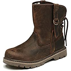 Z.SUO Comfortable Non Slip Genuine Leather Combat Boots Fashion Casual Work Shoes For Womens
