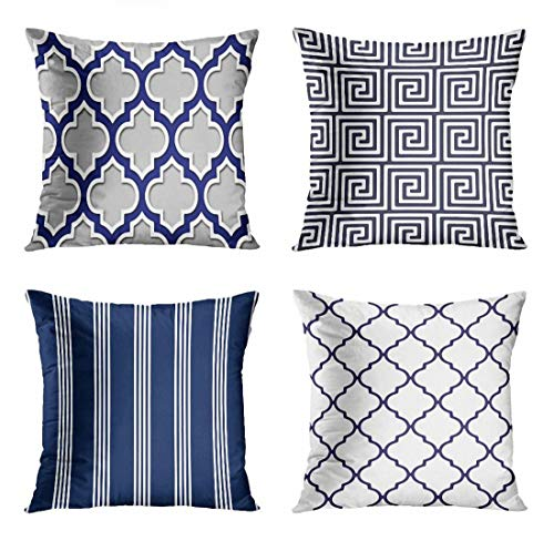 ArtSocket Set of 4 Throw Pillow Covers Modern Gray Navy Blue White Moroccan Quatrefoil Lattice Colorful Garden Greek Decorative Pillow Cases Home Decor Square 18x18 Inches Pillowcases from ArtSocket