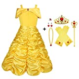 Vicloon Princess Belle Costume Dress,9 Pcs Little Girl Princess Dresses Fancy Party Dress with Crown Wand Gloves Necklace Ring and Earrings