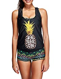 EnllerviiD Women Stripes Double Up Tankini Sporty Two Pieces Swimsuit Set,S-XXXL ¡