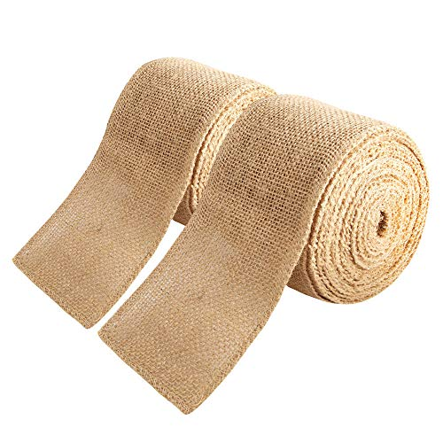 2 Pack 3 inch Wide Burlap Fabric Craft RibbonNatural Ribbon Rolls with Finished Edges for Crafting Wedding Party Favor Home Decoration15 Yards