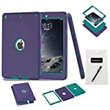 iPad Air Case, iPad 5 Case,MAKEIT 3in 1 Heavy Duty Protection Combo Hybrid Impact Silicone Hard Case Cover for Apple Ipad Air/Ipad 5 (Purple/Dark Green)