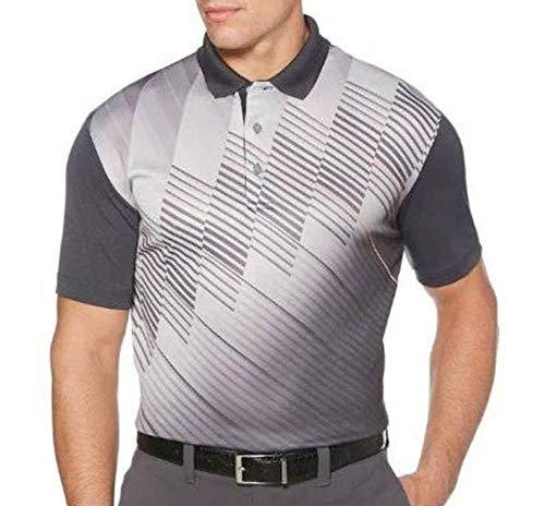 (Grand Slam Mens Blue or Gray Diagonal Motionflow Moisture Wicking Short Sleeve Polo Golf Shirt (Large, Asphalt) )