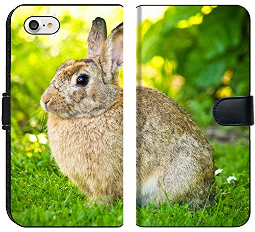- Luxlady iPhone 8 Flip Fabric Wallet Case Image ID 21394682 Rabbit Silhouette on Green Lawn