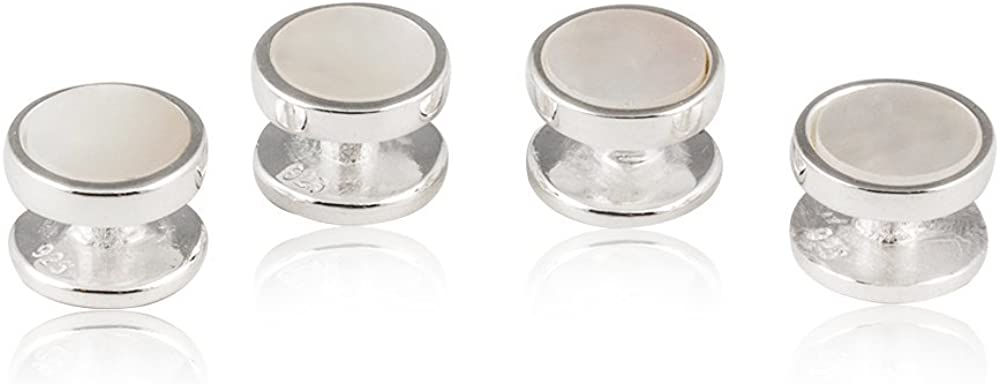 Mens Solid 925 Sterling Silver Mother of Pearl Stud Set - 4 studs