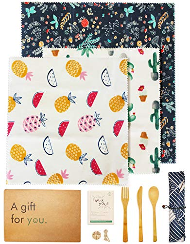 Beeswax Food Wrap Set (3PCS) - Reusable Bees Wax Cover Paper Wraps for Food Storage - Eco Friendly, Sustainable, Plastic Free Beeswrap Set - 2 Medium & 1 Large Bee Wrap - BONUS: Bamboo Utensil Set