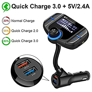 (Upgraded Version) Bluetooth FM Transmitter, Sumind Wireless Radio Adapter Hands-free Car Kit with 1.7 Inch Display, QC3.0 and Smart 2.4A Dual USB Ports, AUX Input/ Output, TF Card Mp3 Player