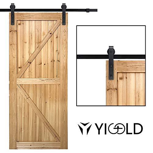 "6.6ft Sliding Barn Door Hardware Kit,Hardware for Barn Doors Antique Style,Slide Smoothly Quietly,Factory Outlet Upgraded Version Quality Carbon Steel,Fit 36""-40"" Wide Door Panel-(J Shape Hanger)"