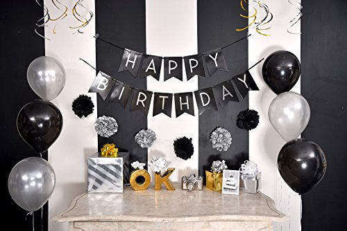 Birthday Party Pack Black Silver Happy Bunting Poms And Swirls