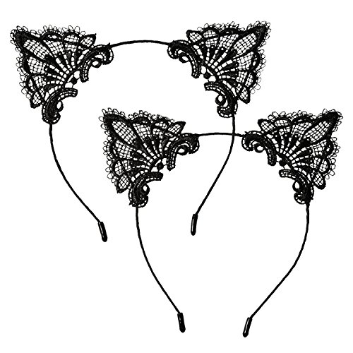 Price comparison product image Hotop Cat Headband Lace Ear Headbands Cat Ear Hairband for Women Girls, Black, 2 Pieces