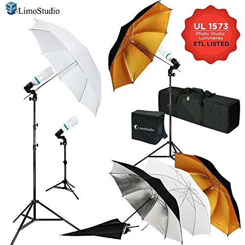 LimoStudio 600W 5500K Photo Video Studio Continuous Lighting Kit, UL 1573 ETL Listed, Bulb Socket with Umbrella Holder, Photography Studio, AGG2109 by LimoStudio