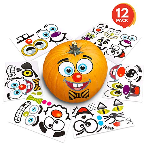 ArtCreativity Halloween Pumpkin Decorating Stickers (12 Sheets) | Jack-o-Lantern Decoration Kit | 26 Total Face Stickers | Cute Halloween Decor Idea | Treats, Gifts, and Crafts for Kids -