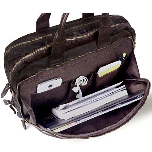 Jack & Chris® Leder Herren Aktentasche Laptop Tasche Messenger Schultertasche, nm7230