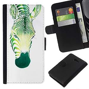 KLONGSHOP // Tirón de la caja Cartera de cuero con ranuras para tarjetas - Zebra arte Pintura Acuarela Tatuaje - Sony Xperia M2 //