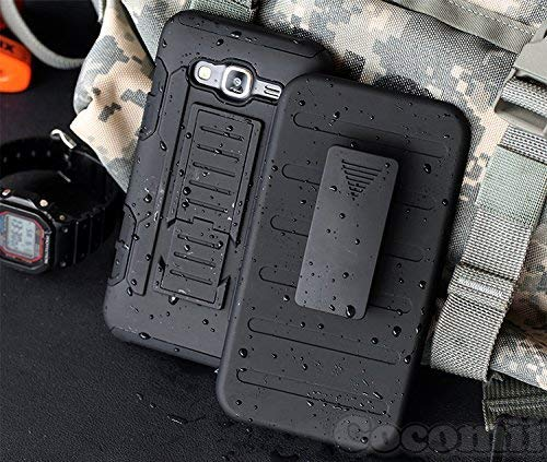 Cocomii Robot Armor Galaxy Core Prime/Win 2/Prevail Case New [Heavy Duty] Belt Clip Holster Kickstand Shockproof Bumper [Military Defender] Full Body Cover for Samsung Galaxy Core Prime (R.Black)