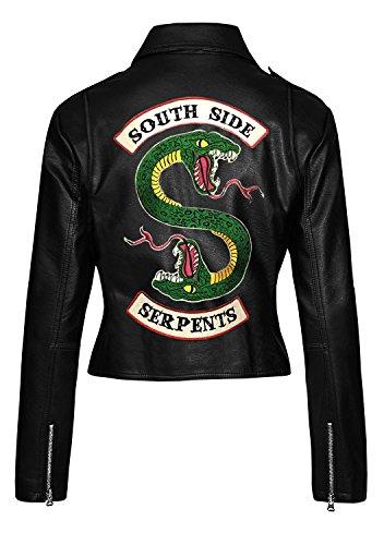 Quality Southside Geniune Hi Serpents Giacca Slimfit Da Nera Faux E Donna Riverdale TOq0ZB