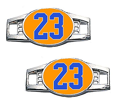 Number Charms - Jersey Style in Team Colors for Shoelace / Paracord (Number 23 Orange & Royal Blue) ()