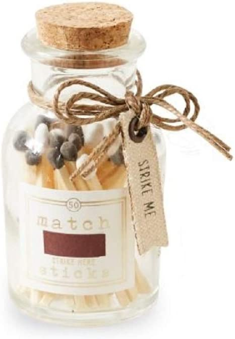 Mud Pie Small Match Sticks in Glass Bottle (White and Gray Matches)