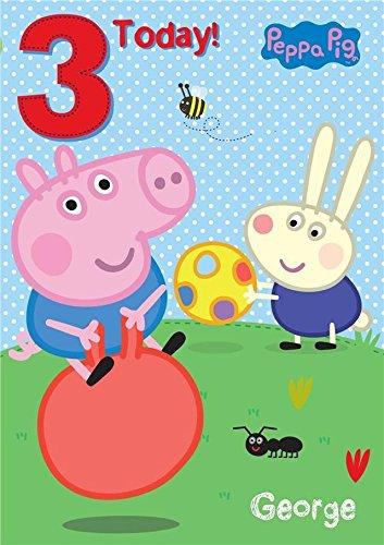 Peppa Pig - George edad 3/3rd tarjeta del feliz cumpleaños ...