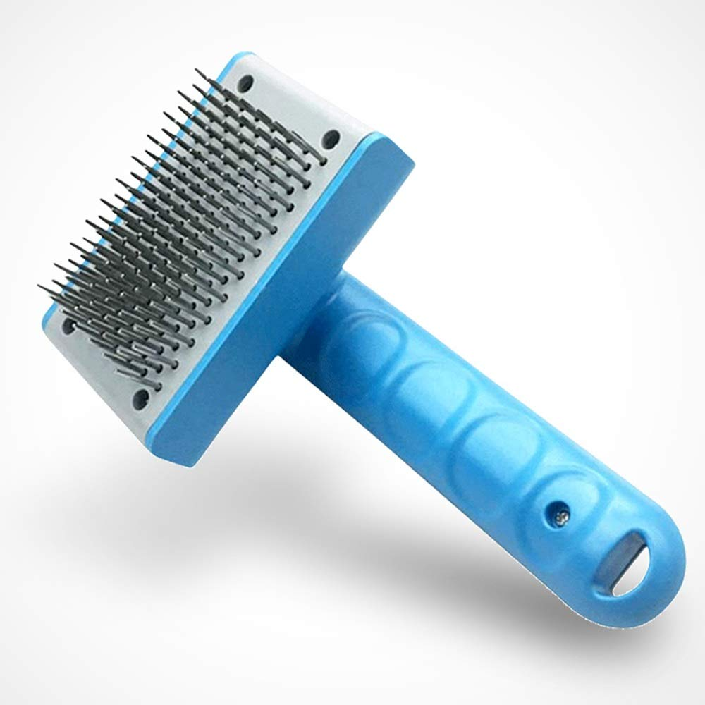bluee Pet Grooming Brush Professional De-Shedding Tool with Grooming Massage One Button Hair Removal for Big Small Long Short Hair Dog Cat Brush (color   bluee)