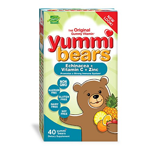 Yummi Vitamins Echinacea Bears (Yummi Bears Echinacea + Vitamin C & Zinc, 40-Count Gummy Bears)