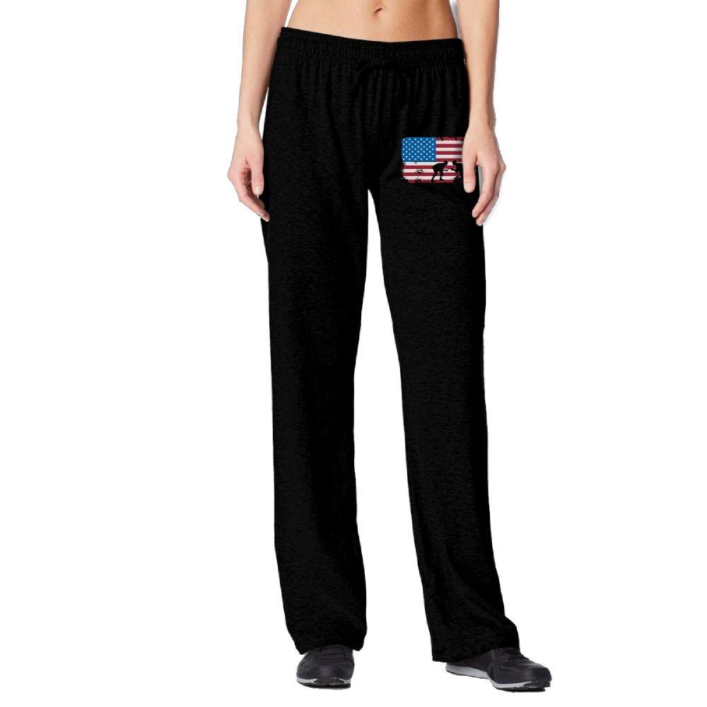 PAT-11 American Flag Wrestling Woman Casual Elastic Waist Jogger Pants For Running   Beam Trousers