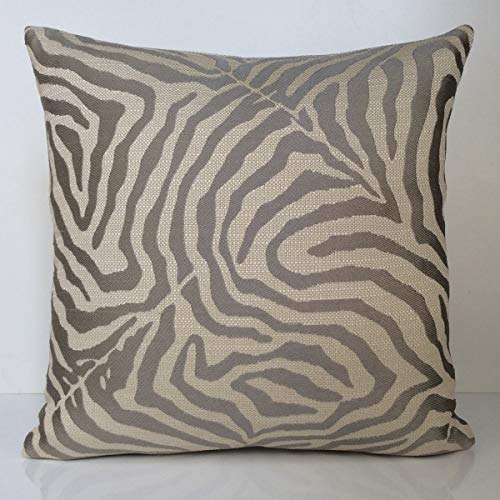 SH Pillows, Decorative Throw Pillow Covers, Linen Thick Cotton Blend Cushion Cover Cases, Accent Pillowcase, Silk Embroidered Zebra Tango Mango Pillow Covers (Off White Gray, - Print Silk Zebra