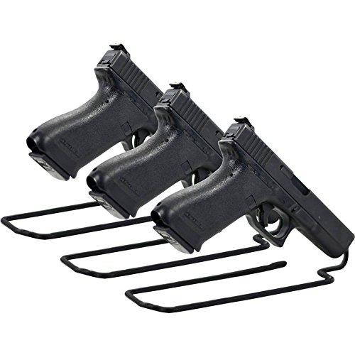 Pistol Stand - BOOMSTICK Gun Accessories Stand Style Vinyl Coated Metal Handgun Pistol Rack (Pack of 3), Black